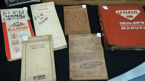 Old U-Haul rental contracts were among the many items on display at Ridgefield Heritage Day.