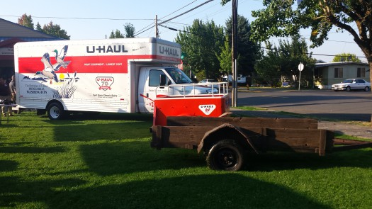 U-Haul displayed a 20-foot truck (TT) with a Ridgefield SuperGraphic, a classic orange trailer and a wooden trailer constructed in 1946 at Ridgefield Heritage Day.