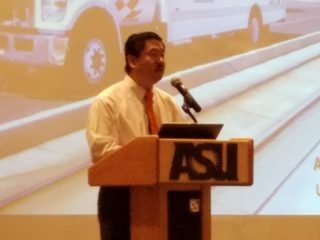 Dr. Allan Yang, Chief Sustainability Scientist at U-Haul International, speaks at a Phoenix Sister Cities-sponsored symposium on global sustainability, hosted by ASU