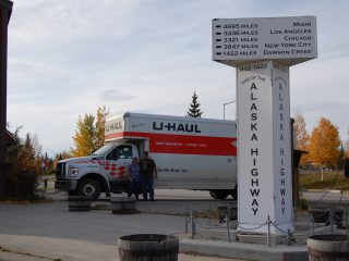 End of the Alaska Hwy
