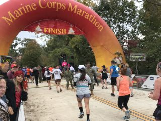 Monique Wantland finishing the 43rdAnnual Marine Corps Marathon.